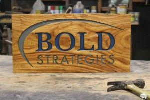 bold strategies custom wood business corporate sign
