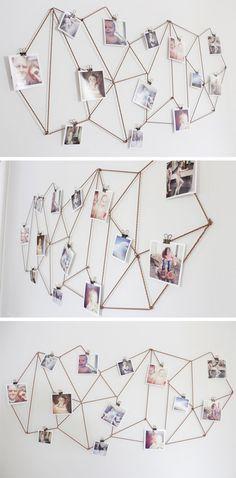 Use barbante para criar a estrutura geométrica e anexe suas fotos em cima