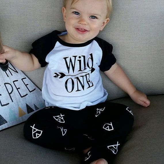 1st Birthday Outfit Boy Wild One First Shirt 1 Year Old Clothes Hipster Baby Set 024