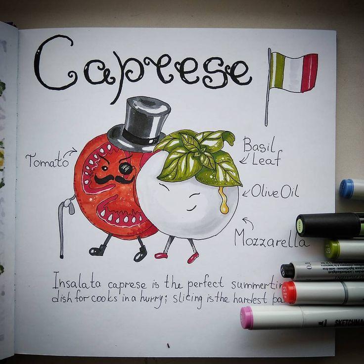 Insalata caprese. Mozzarella + tomato + basil leaf. Sketch