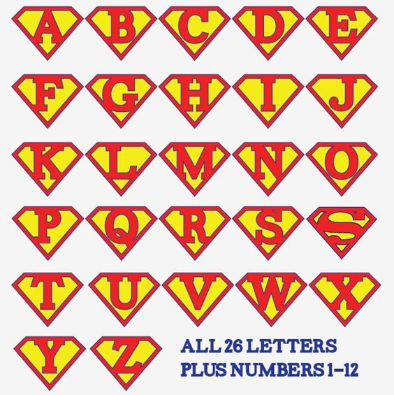 superman alphabet letters template - Google Search