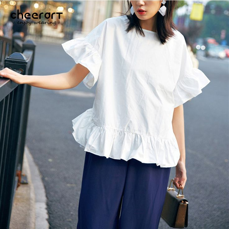 Cheerart Cotton Summer White Ruffles Blouse Women Loose Plus Size Casual Ladies Korean Fashion Top Clothing