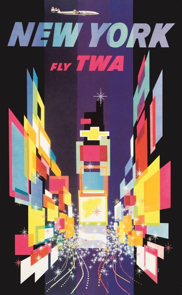 Fly TWA New York poster by David Klein