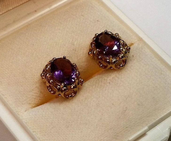 Vintage Ohrstecker - Ohrstecker Ohrringe Gold 333 Amethyst Shabby OR122 - ein Designerstück von Atelier-Regina bei DaWanda