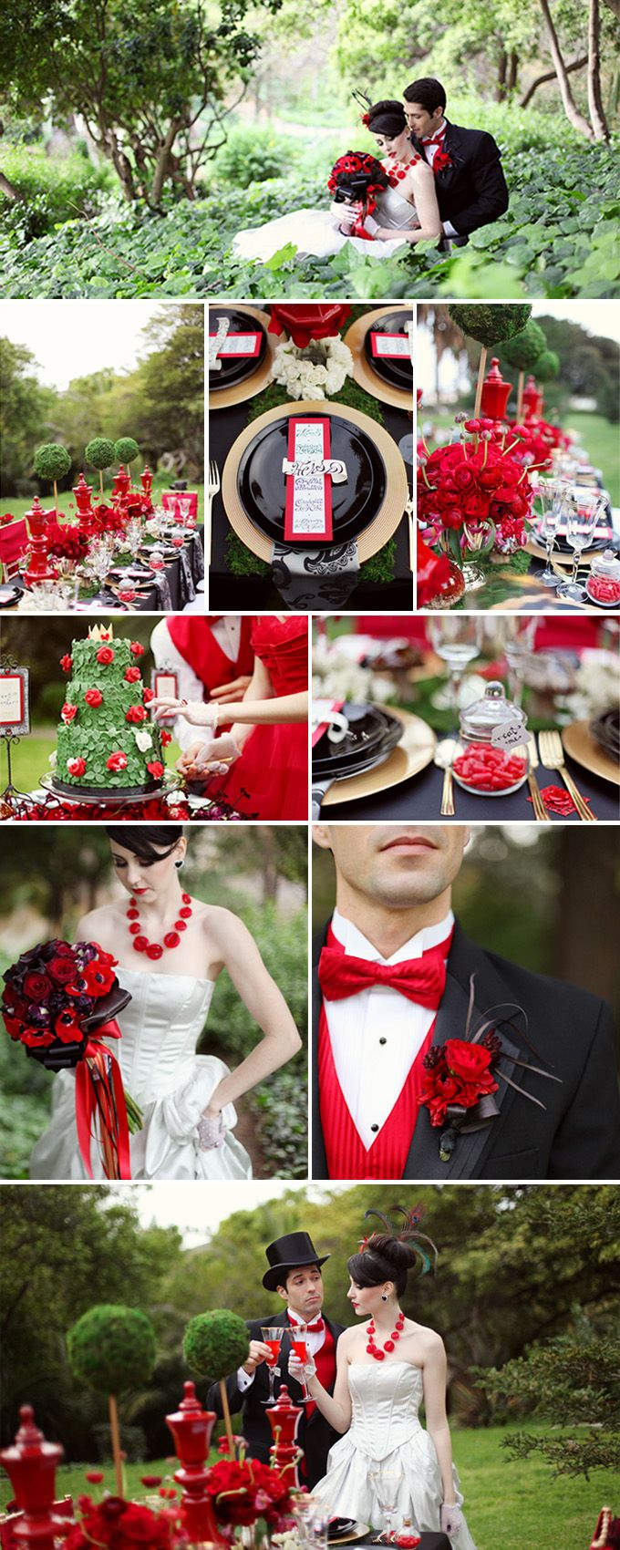 This Alice in Wonderland wedding inspiration board is heavily influenced by the Queen of Hearts, noted from the many uses of red and black colors