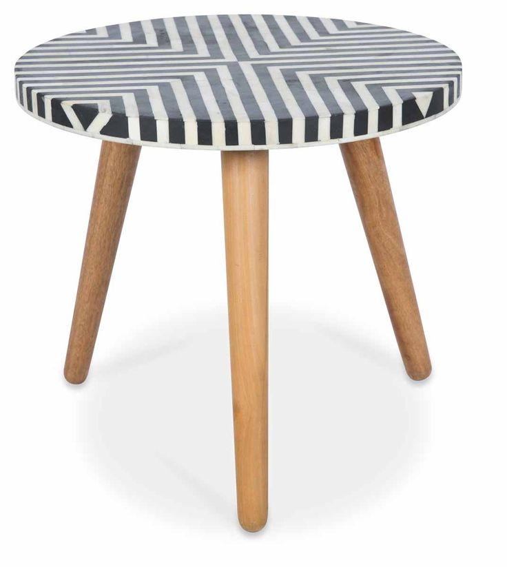 Danish Side Table with Bone Inlay Top and Mango Wood Legs