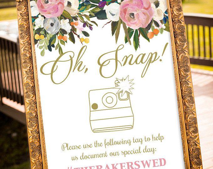 hashtag mariage imprimable, hashtag mariage, grand signe de mariage personnalisé, Blush et or Wedding Decor, signe Oh Snap mariage