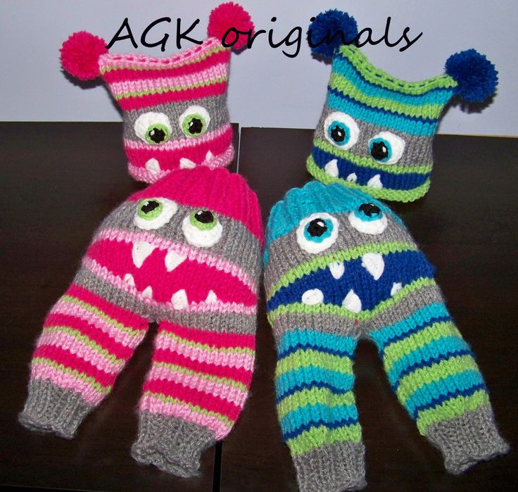 hand knit monster pants and hat sets in pink/grey and blue/green/grey