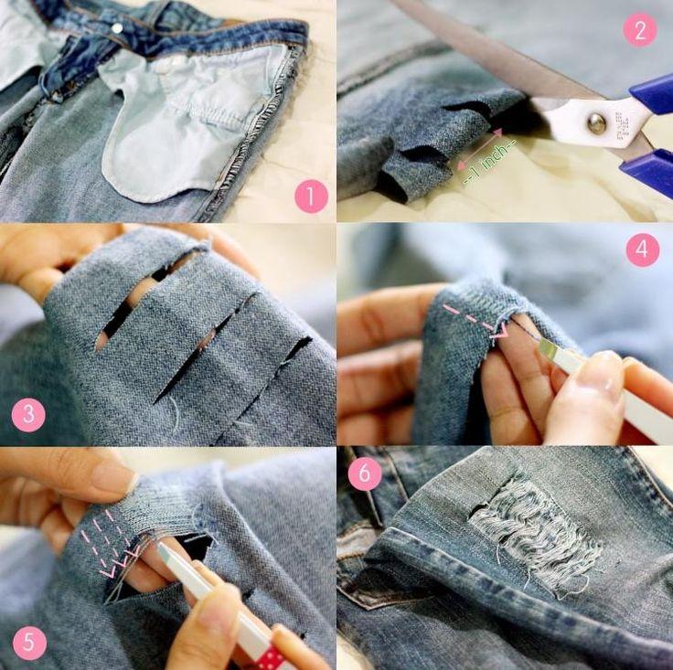Destroyed Jeans selber machen - Faden mit Pinzette herausziehen (Diy Clothes Refashion)