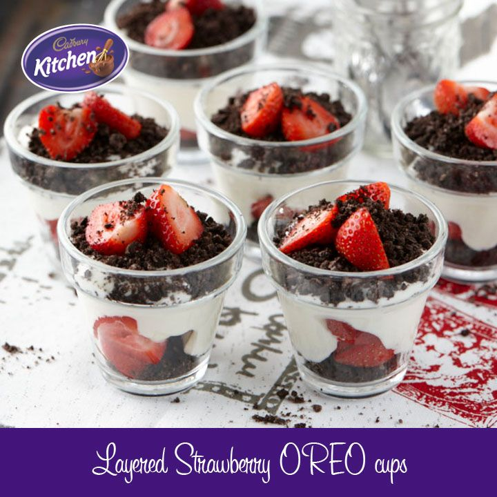 This is a lovely layered #dessert combining #chocolate, #OREO #SPRINKLES, strawberries and vanilla in neat little cups. #cadbury For more of our CADBURY Sprinkles Recipes visit https://www.cadburykitchen.com.au/search/results/12b1a4e5934620f702e375aba4f19149/