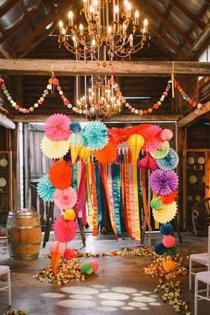 Get the party started with these fiesta themed wedding backdrops and details @myweddingdotcom