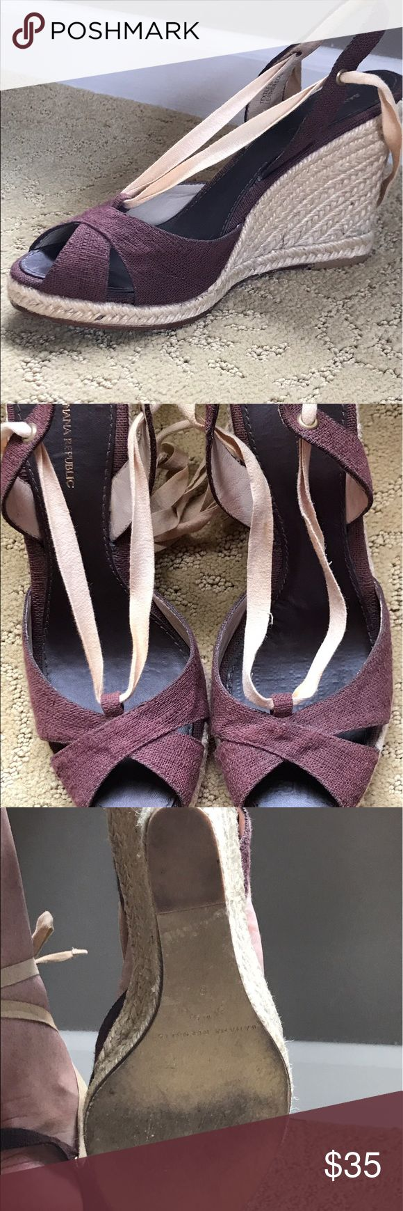 Banana Republic lace up wedges Brown linen like new wedges excellent condition. Banana Republic Shoes Wedges