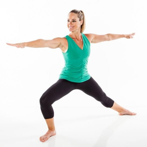 Warrior to grande plie.  Stand with feet wide and toes turned out. Extend arms straight out from shoulders. Lower into a warrior lunge, bending right knee over ankle, shifting focus to right arm.
