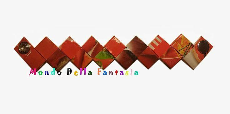 """Braccialetto """"Red"""" realizzato con le riviste, by Mondo della Fantasia, 8,00 € su misshobby.com"""