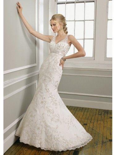 Satin V-Neckline Beaded Embroidered Bodice Mermaid Wedding Dress