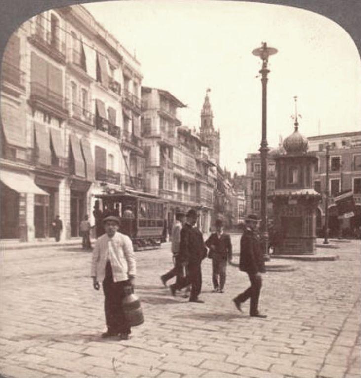 Fotos antiguas de Sevilla: Plaza de San Francisco y Ayuntamiento. 1902-1917 Reinado de Alfonso XIII. Etapa 1ª | GÉNOVA Café-Bar | Tapas · Restaurante · Comer en Centro SEVILLA