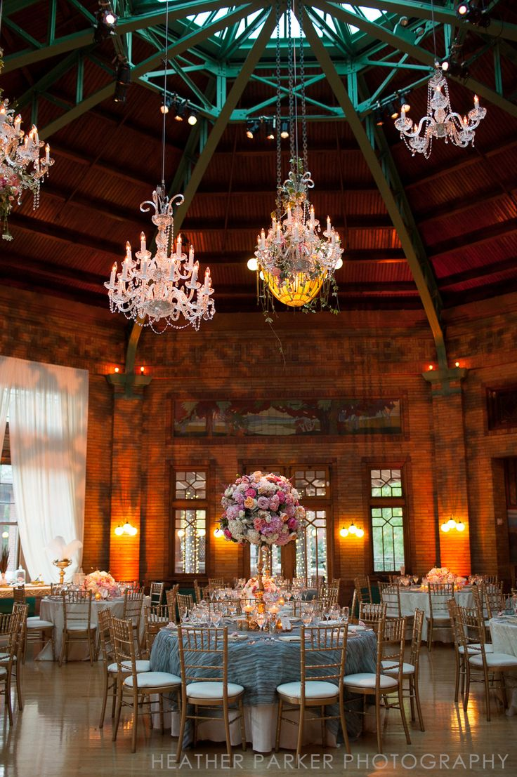 Special table arrangement for the head table...  Romantic Chicago Wedding at Cafe Brauer from Heather Parker Photography