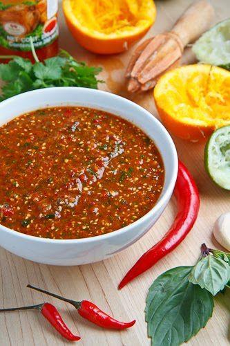 Salsa Naranja (Orange Salsa):  1 cup sweet chili sauce; 1/2 cup orange juice ;1/4 cup lime juice ;1 small onion, diced; 2 green onions ;5 cloves garlic  1 thumb ginger, grated ; 1/2 cup basil ; 1/2 cup  cilantro ;2 birds eye chilies ;2 cayenne chilies ;2 tbsp gochugaru ;1 tbsp gochujang ; 2 ttbsp toasted sesame seeds;  1 tbsp salt ;1 tbsp pepper: Puree everything in a food processor.