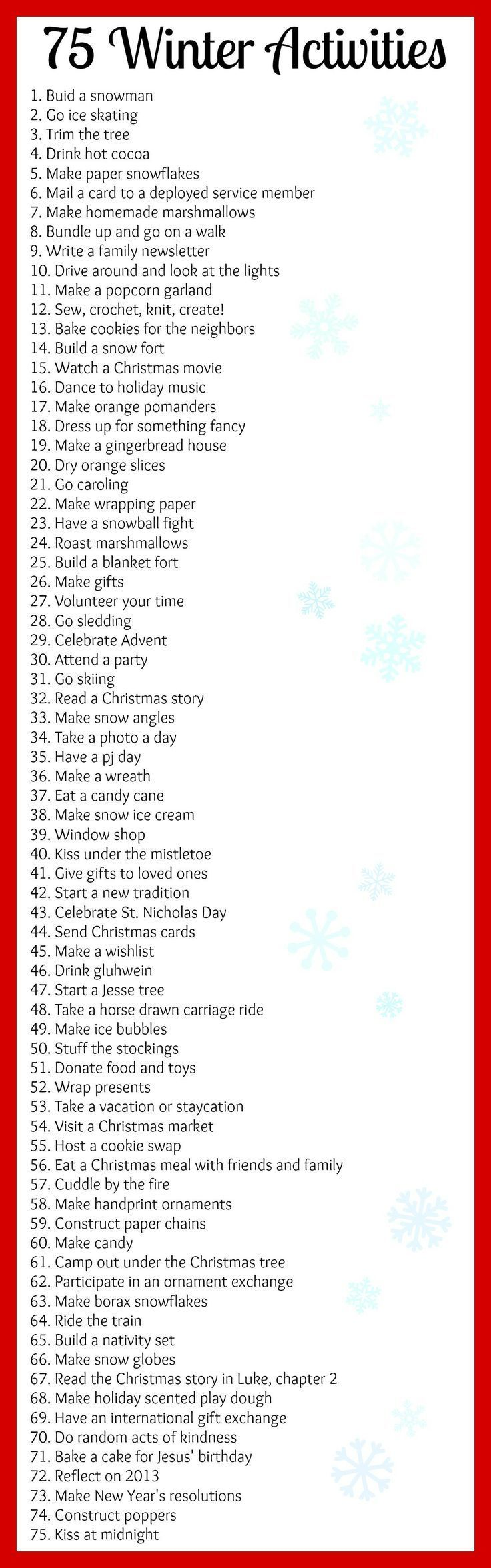 75 Winter Activities For The Bucket List Or To Fill An Advent