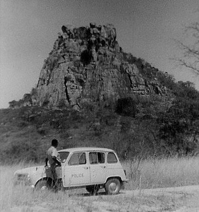 Renault 4L 1960's South African Police Duty Officer's car. Photo taken at Lalapanzi Area, near Domboromari, Louis Trichadt