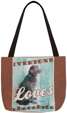 Dog Crossing Tote Bag - Chocolate Labrador Retriever