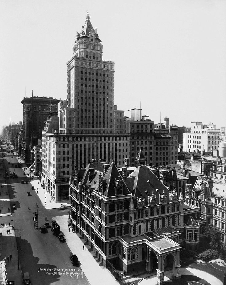 A view up Fifth Avenue with the Heckscher Building, or Crown Building, and residence of Cornelius Vanderbilt in 1921