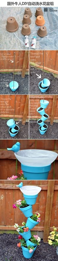 "Fun, creative, eye appealing yard art! Extra options would be to use the clay colored pots with/without flat gems hot glued to them...a simple painted design on each or just left plain...can't lose anyway you approach this project! ""Love the simplicity"""