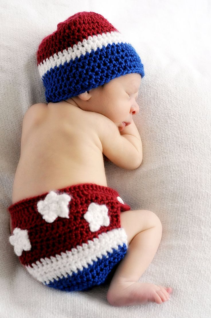 4th of July beanie and diaper cover/ picture prop