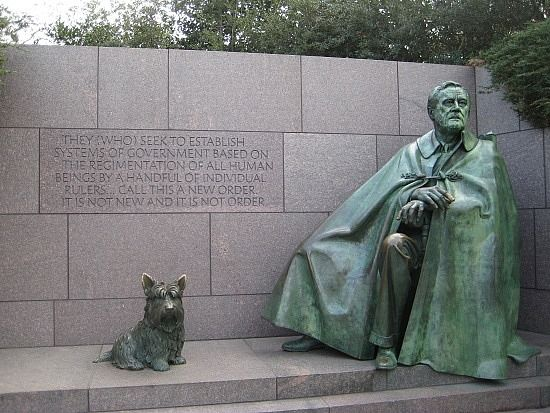 President Franklin Roosevelt's dog Fala was so famous she is now depicted with the President at the Franklin Delano Roosevelt Memorial in Washington, DC.