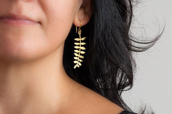 Gold Leaf Earring Fern Dangle Earrings Autumn leaf Gold plated Sterling Silver Ash Leaf Christmas Gift for women long leaf bridesmaid gift