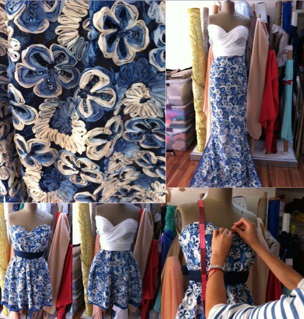 Propuestas para nuestra tela floreada en azul.  ¿Vestido corto o largo? ¿Qué prefieres?