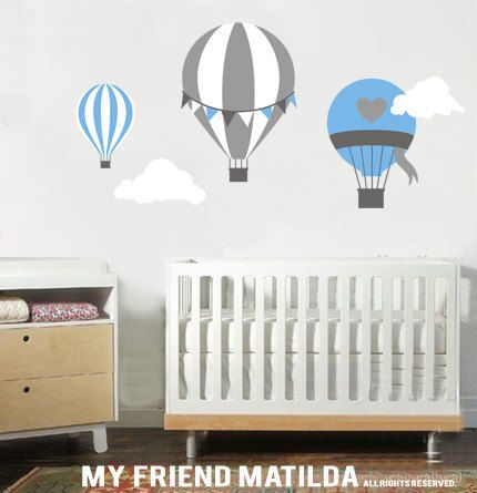 Hot AIr Balloon balloons M001 Blue Wall Decal Sticker Nursery Cot Baby. $84.00, via Etsy.