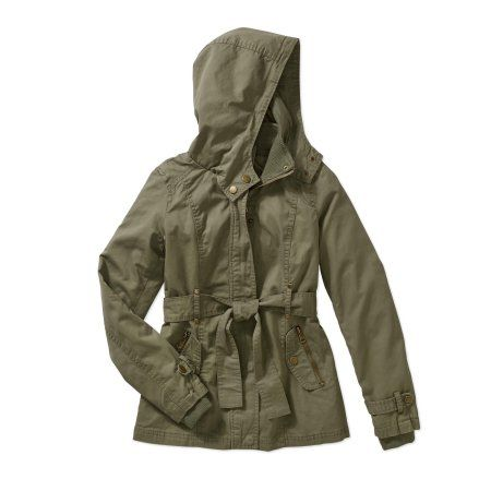 Beverly Hills Polo Club Girls' Belted Hooded Cotton Anorak Jacket With Pockets, Size: 10/12, Green
