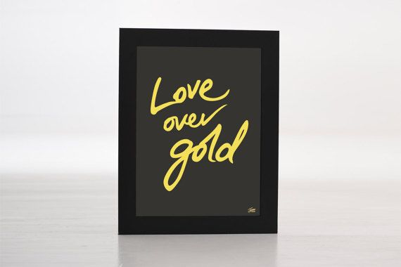 Love Over Gold - Gold Foil Print - By JamoandCream on Etsy