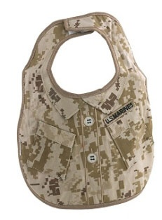 Marines Digital Camo Baby Bibs. Styled after The Marine Corps digital uniform. It has a terry cloth backing and is machine washable.