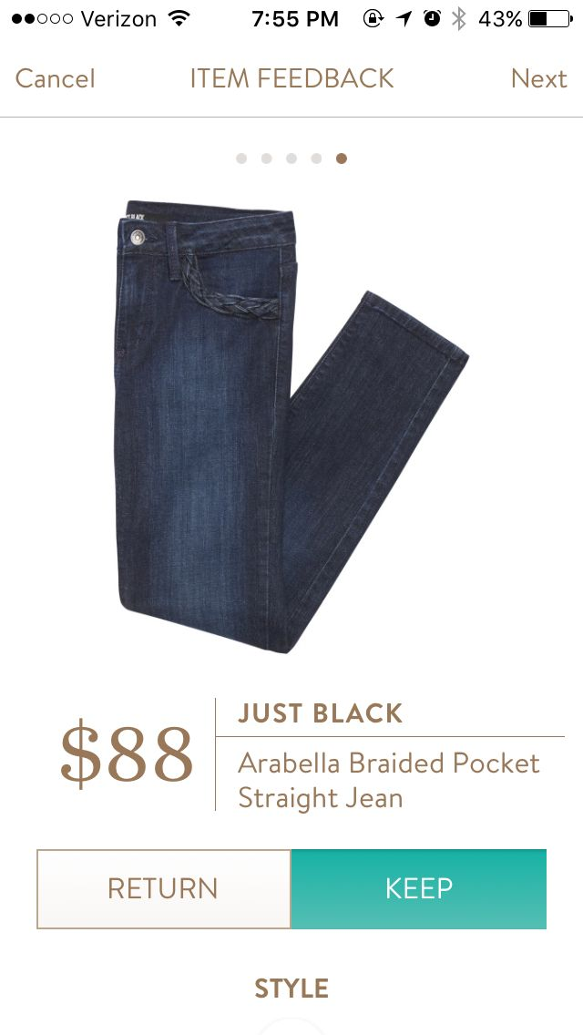 Got these Just Black jeans with braid trim on front pockets in my February '16 stitch fix. I am neutral on the pocket trim but they are really comfy!