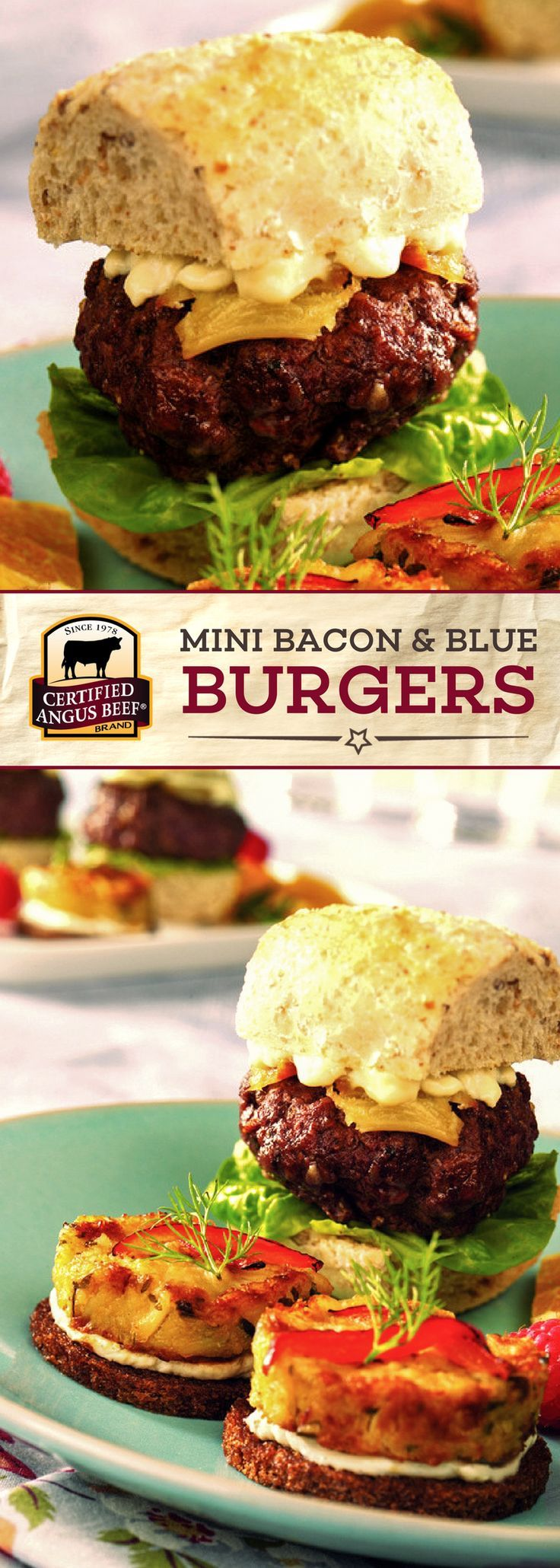 Certified Angus Beef®️️️ brand Mini Bacon & Blue Burgers are SO delicious, and the perfect size! The BEST ground beef is stuffed with blue cheese and BACON for built-in delicious flavor. This mini burger recipe is a MUST-TRY! #bestangusbeef #certifiedangusbeef #beefrecipe #burgerrecipe