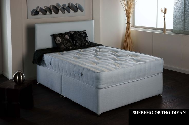 """3ft Supremo Ortho Divan - £399.95 - The Supremo Ortho mattress is popular for its firm feel and quality finish and is now available in short lengths for rooms where a standard 6ft3 length would not fit.  It is approx 10"""" deep and upholstered in a cotton viscose fabric which is both smooth to the touch and wonderfully cool and breathable.  The spring system is an open coil orthopaedic spring unit which offers supurb support and has deep layers of soft upholstery fillings which are hand…"""