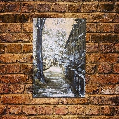New York, Brooklynサイズ A3ウッドキャンバス作品Mixed Media with spray artニューヨークブルックリンの冬の路地をA...|ハンドメイド、手作り、手仕事品の通販・販売・購入ならCreema。