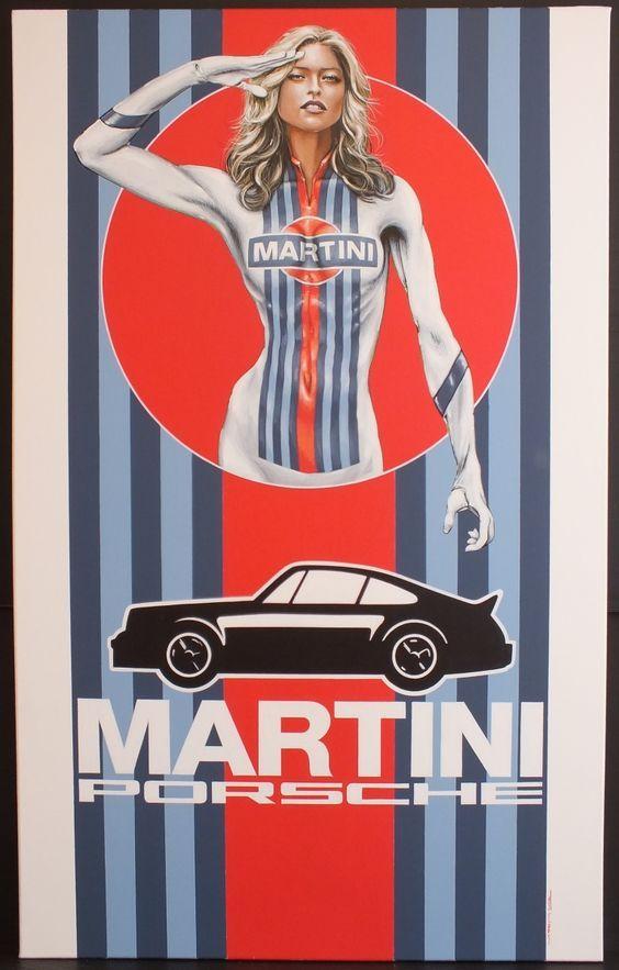 Martini Racing Girl Canvas Acrylic Painting | Classic Driver Market: