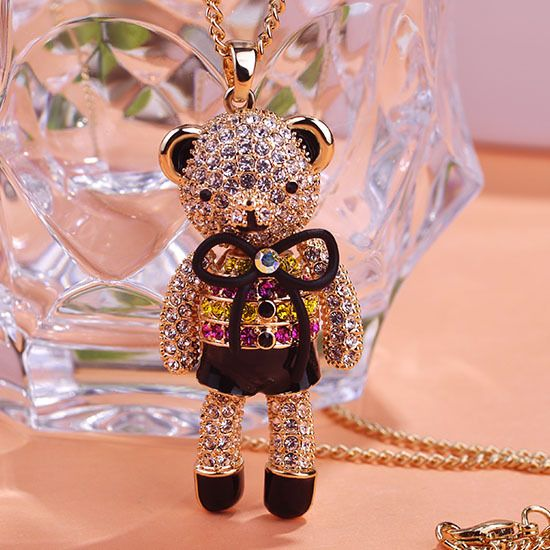 Good Luxury Fashion Kawaii Cute Bear Jewelry Esmalte Enamel Steampunk Pendants Necklaces & Brand Bow Animal Bijoux Form India UK