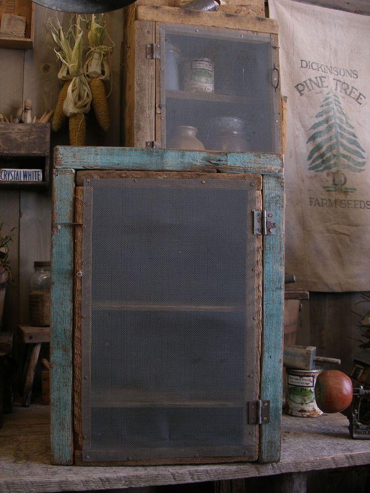 Gorgeous blue paint primitive wood cupboard. Sweet Liberty Homestead primitives.