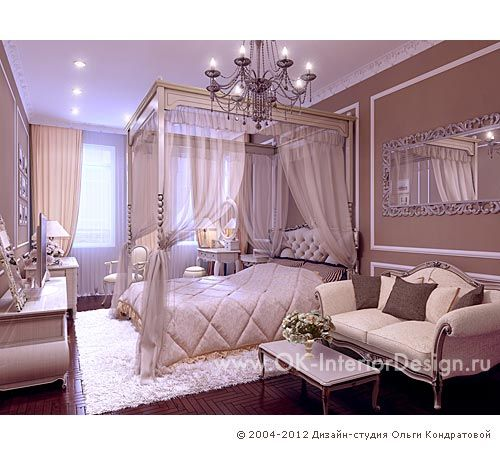 3D дизайн интерьера спальни с балдахином - http://www.ok-interiordesign.ru/ph18_bedroom_interior_design.php