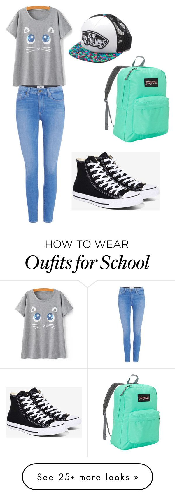 """""""School"""" by catbasil on Polyvore featuring Paige Denim, Converse, Vans and JanSport"""
