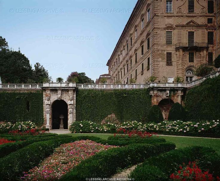 Garden view of the Castello Ducale in Aglie near Ivrea (Val d'Aosta), Italy