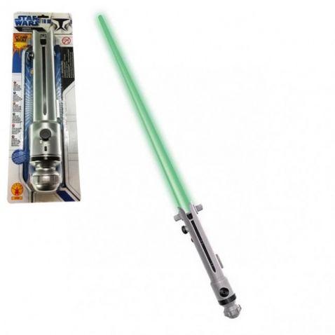 Star Wars - Světelný meč vysouvací Ahsoka Tano, zelený Dětská replika světelného meče, který nosí Ahsoka Tano, která je padawanem Anakina Skywalkera v animovaném seriálu Hvězdných válek Klonové Války. Vysouvací meč je schovaný v rukojeti meče a můžete jej snadno vysunout. Čepel se umí rozsvítit.