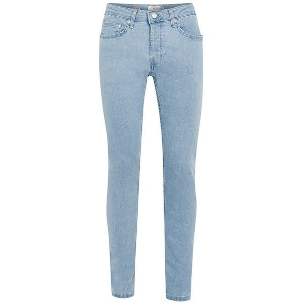 TOPMAN Bleach Wash Blue Stretch Skinny Jeans ($37) ❤ liked on Polyvore featuring men's fashion, men's clothing, men's jeans, blue, mens tapered jeans, mens blue jeans, mens skinny jeans, mens stretch jeans and mens skinny tapered jeans