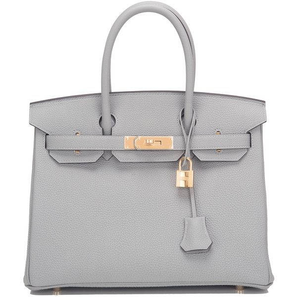 Pre-Owned Hermes Gris Mouette Togo Birkin 30cm Gold Hardware found on Polyvore featuring bags, handbags, grey, genuine leather handbags, gray leather handbags, real leather handbags, gray purse and leather purses