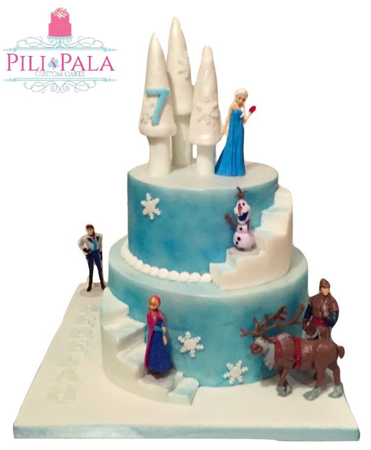 Frozen castle themed birthday cake. Figures supplied by the birthday girl's dad