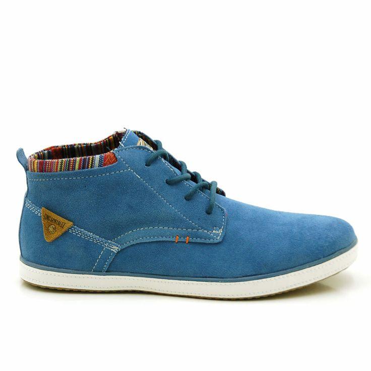 Botas hombre casual con cordones y collarin en colores por 35,99 €  http://www.tinogonzalez.com/botas-hombre/3528-none.html#/talla-40/color-azulblancoyplatea/gama-azul